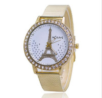 Cheap Fashion Elegant eiffel tower Women Watch Women Natural Face Quartz Wristwatch Casual Ladies Watch Gift Clock Mesh Belt Quartz Watch
