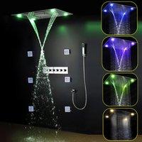 Mando a distancia de luz LED de color 304 de acero inoxidable pulido cabezal de ducha de alto flujo de latón ducha grifo lluvia ducha conjunto 20160927 #