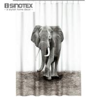 Wholesale 1 Shower Curtains Bathroom Polyester Bath Fabric Elephant Waterproof Washable cm With Plastic Hooks