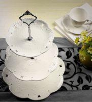 Wholesale European style ceramic three layers of fruit bowl cake pan afternoon tea plate fashion creative birthday wedding gift