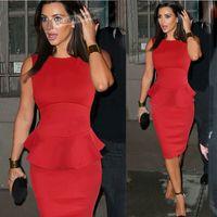 Robes moulantes kardashian Avis-Vente Hot Kim Kardashian robe de célébrité FASHION Peplum femmes Robe crayon soirée élégante robe de soirée longueur au genou en magasin 2016 de haute qualité