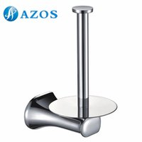 Wholesale AZOS Wall Mounted Toilet Paper Holders Bathroom Accessories Shower Hardware Components Chrome Polished Finish Silver Color GJKE2305 L