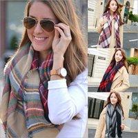 acrylic shawl wrap - Plaid Scarves Lattice Scarf Tartan Collar Check Wrap Grid Shawl Cozy Oversized Scarf Women Tassel Pashmina Scarves Cashmere Blankets E9