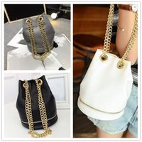 Cheap High grade Cheap new fashion women sweet lady temperament chain candy color drawstring bucket bag shoulder messenger bag VMB76