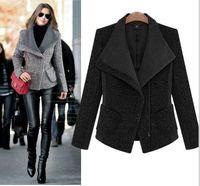 Wholesale Wool Coat Autumn Winter Lady s Clothes Fashion Casual Zipper Lapel Blazer Women s Outerwear Blend Jackets Misses Wear Women Clothes