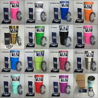 Wholesale 15 Colored Yeti Cups oz oz with Lid Stainless Steel Double Wall Vacuum Insulated yeti Tumbler Rambler Travel Mug Fast ship