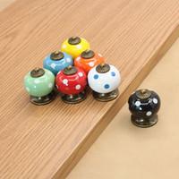 Wholesale New Vintage Dot Round Ceramics Drawer Knob Door Cabinet Kitchen Pull Handle Furniture Hardware Handle Decoration