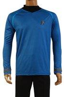 Wholesale HIGH QUALITY Star Trek Into Darkness Captain Kirk Shirt Uniform Cosplay Costume Blue Version Size XS XL