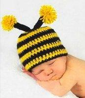 baby bumble bees - 100 Handmade Bumble Bee Crochet Knitted Hat Baby Boys Girls Winter Caps Newborn Infant Toddler Kids Headwear Children Animal Beanie Cotton
