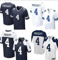 Wholesale 2016 NEW Dak Prescott Cowboys blue white thanksgiving Blue white Stitched Elite Football Jerseys Free Drop Shipping Mix Order