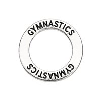 affirmation bracelet - Tibetan Silver Gymnastics Affirmation Circle Washer Charms for Bracelet diy Jewelry Making