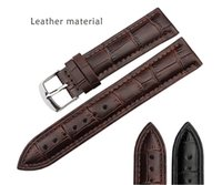 Wholesale 18mm and mm New High quality Black And Brown Genuine Leather Watch Bands strap With Black Clasp Luxury WristStrap Bracelet For belbi Watch