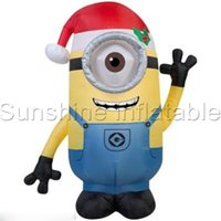 airblown inflatable decorations - Giant airblown christmas inflatable minion one eye double eyes with santa hat for holiday decoration