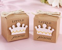 baby birthday crowns - Little Prince Princess Brown Kraft Paper Baby Shower Birthday Party Favors Candy Boxes with Crown and Twine