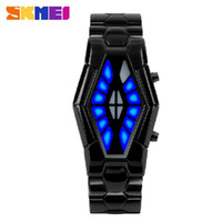 Wholesale Fashion Jewelry New Gold Chain Design Binary For Men led Electronics digital Steel wristwatches waterproof Watches