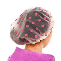 Wholesale PC Waterproof Fashion Dot Shower Cap Beauty Town Beauty Care Accessories Bath Caps Hotel Shower Hat Bathing Hats