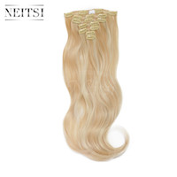 Wholesale Neitsi quot set g clips Ombre Synthetic Clip In Curly Hair Extensions Body Wave Wavy Heat Resistant Hair Color