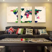 Cheap Hot Sell 3 Panels Canvas Modern Triptych Wall Painting Watercolor World Map Home Decor Art Picture Paint on Canvas Prints 24*16in*3pcs
