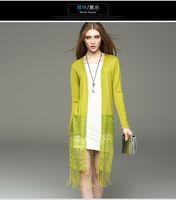 Wholesale women girl s new autumn dress lace stitching long tassel sweater cardigan coat outwear colors black yellow green size S M L