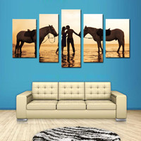 beautiful horse paintings - 5 Picture Combination Beautiful Sea Canvas Print Oil Paintings A Pair of Lovers And Two Horse for Living Room Home and Wall Decoration