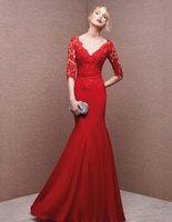 apple points - Vintage mermaid Evening Dresses plus size Evening gowns long Evening Dresses French lace v neck points sleeve dress Manufacturer
