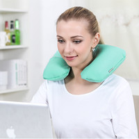 air plane seats - Folding Inflatable U Shape Air Pillow Outdoor Travel Neck Blow Up Cushion Portable PVC Flocking Office Plane Pillows U Type