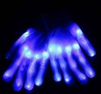 Wholesale Hot DHL Blue LED light emitting optical fiber skinny gloves Halloween toys gloves entertainment cheer DJ props