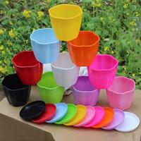 Wholesale 4pcs Flower pot Planters Multicolor Plastic Nursery pots Flowerpot with tray Bonsai garden supplies