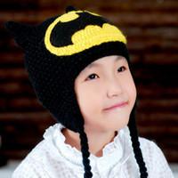 adjustable earmuffs - Handmade knitting Batman hat winter to keep warm earmuffs cap hat for kids BA495