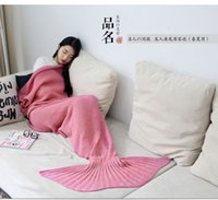 Wholesale DHL Mermaid Tail Blanket Crochet and Mermaid Blanket for adult Super Soft All Seasons Sleeping Blankets Creative Blankets