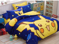 Wholesale SF EXPRESS kids Queen Bedroom Poke Sheet Cartoon Navy Printed Pikachu Quilt Cover Set Cotton Cute Sheet Set