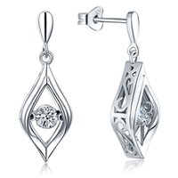 beautiful wedding earrings - 925 Sterling Dancing Style Silver White Gold drop earrings Earrings New Design With Rhodium Plated For Beautiful Wedding Engagement DE92410A
