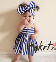 baby clothes sailor - 2016 INS hot baby girl kids infant toddler Summer clothes clothing Sailor piece sets outfit Stripe dress jumper bowknot headband headwrap