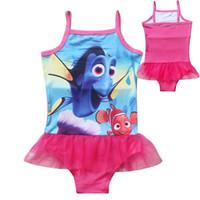 Wholesale 2016 Girls Kids Children Finding Nemo Marlin Dory Swimsuit One Piece Swimwear Bather Sunbath Bikini Swimming Costume