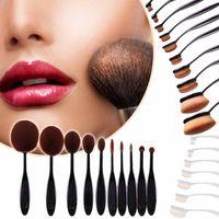 Wholesale 2016 Professional Foundation Powder brush set Oval Toothbrush Eye Shadow Blusher cream BB Soft Shape Curve Makeup brush set Tools OPP pack