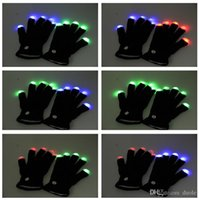 Wholesale Hot Selling LED Gloves colorful changing black white Light Finger flashing For Halloween Christmas KTV Party Free DHL FedEx