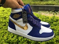 Wholesale Air Jordan High Olympic Jordans Retros s High Olympic Gold Medal Deep Royal Blue Gold White Come With Original Box