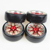 Wholesale 4pcs RC Car Red Y shape Plating Hub Wheel Rim Smooth Hard Tires For Drift Car
