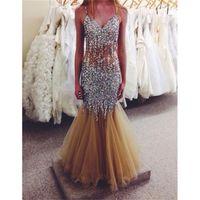 Wholesale 2017 Crystal V Neck Prom Dresses Beading Sleeveless Off the Shoulder Sphaghetti Strap Mermaid Evening dress Party Dresses Vestidos de Noiva