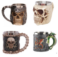 Wholesale Personalized Double Wall Stainless Steel D Skull Mugs Coffee Cup Mug Skull Knight Tankard Dragon Drinking Cup Fancy Decorations