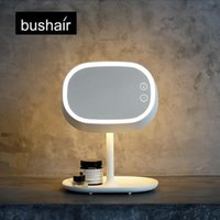 Wholesale Bushair in LED Makeup Mirror Lamp Table Stand Cosmetic Mirror Night Light Chargeable Lithium Battery Beside Lamp
