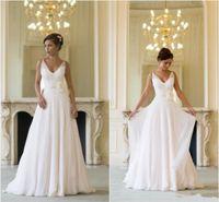 Cheap Grecian Beach Wedding Dresses Backless V Neck Flowing Vintage Boho Bridal Dress A Line Vintage Greek Goddess Bridal Gown Summer Style