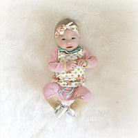 american girl news - 2016 News ins hot selling baby clothes sets infant baby girl rose flower print jumper tops with stripe long pants headbands three piece set