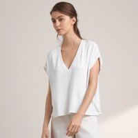 Wholesale Fashion Summer Women Blouses Solid Shirt Short Sleeve V Neck Casual Loose Crop Tops Blouse