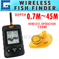 Wholesale FFW BLK Digital Wireless Dot Matrix Sonar Sensor River Lake Sea Contour C F Fishfinder Fish Finder m Black color