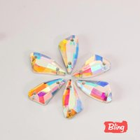 Wholesale x17mm Pepper Shape Clear Crystal AB Sew On Rhinestone Glass Crystal Flatback Sewing Strass Dresses B0774