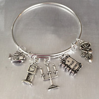 beauty pot - 12pcs Beauty and the Beast inspired bracelet silver tone rose tea pot charm bangles
