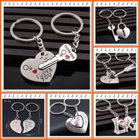 Wholesale Car Water Bottle Holder - In-business Christmas gift Novelty Items love-Couple Keychain Lover Heart Key Chain Key Ring Llaveros Pareja Trinket Jewelry Valentine Gifts