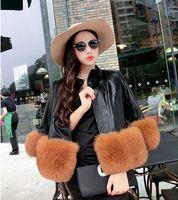 Wholesale New Women Fashion Faux Fur Edge PU Leather Short Coat Winter Cute Short Jackets Outerwear