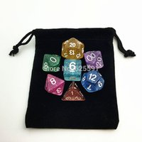 Wholesale set Dice bag cm quot Black Velvet Pouch Jewelry Bag Christmas Wedding Gift Bags amp Pouches Board Game
